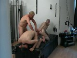 Dad stuffs massive anal beads in a younger slave's butt