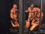 3 leather bears group-sex a feeble male thrall