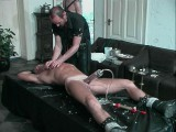 Golden-haired hunk receives his jock pumped and tortured with hot candle wax