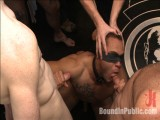 Ripped, muscled guy gang fucked by horny studs & smothered with feet